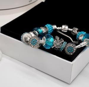 Pandora classic blue bracelet snowflake charm
